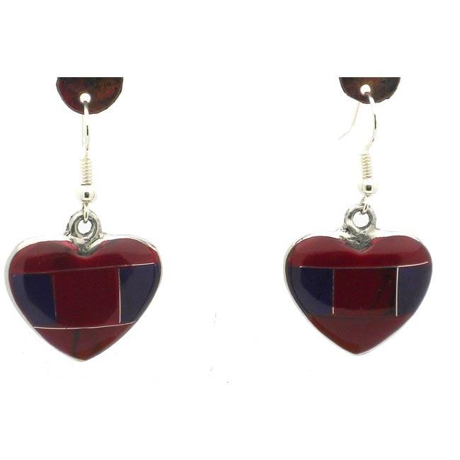 Red Heart-shaped Jasper Alpaca Silver Earrings (Mexico)