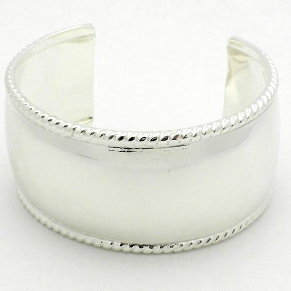 Handmade Silver Overlay Smooth Cuff Bracelet (Mexico)