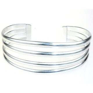 Handmade Women's Mexican Four-bar Silver Overlay Cuff Bracelet (Mexico)