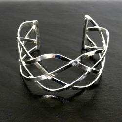 Handmade Silver Overlay Woven Design Slip-on Cuff Bracelet (Mexico)
