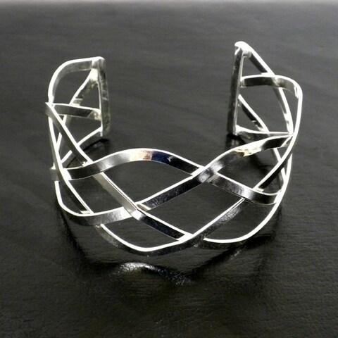 Handmade Silver Overlay Woven Design Slip-on Cuff Bracelet (Mexico)