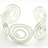 Handmade Silver Hammered Spirals Overlay Cuff Bracelet (Mexico)