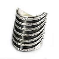 Handmade Thai Karen Hill Tribe Tribal Stack Illusion Silver Ring (Thailand)