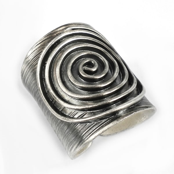 Thai Karen Hill Tribe Maze Swirl Handmade Sterling Silver Ring (Thailand)