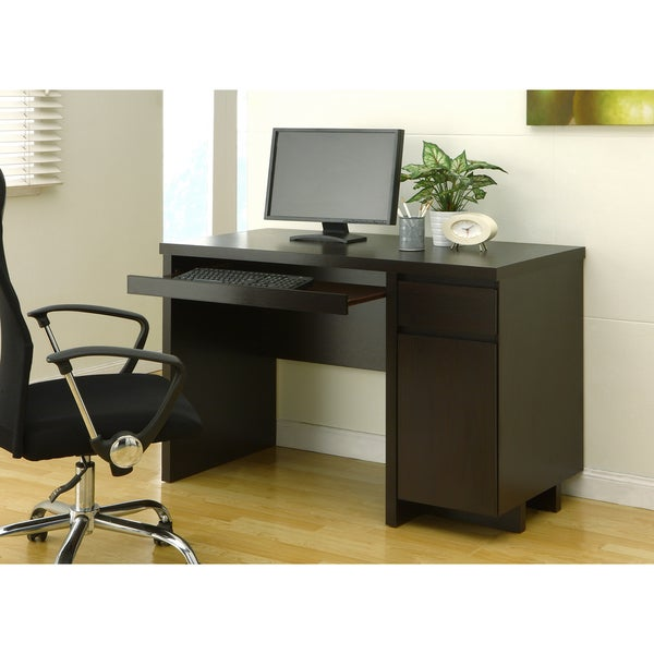 Furniture of America Mainstreet Cappuccino Office Desk with Keyboard Tray