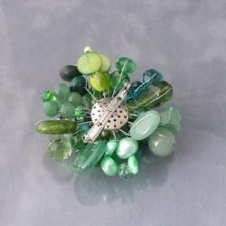 'Green Fusion' Jade Aventurine Pearl Floral Brooch (Thailand)