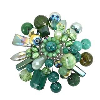 Handmade 'Green Fusion' Jade Aventurine Pearl Floral Brooch (Thailand)