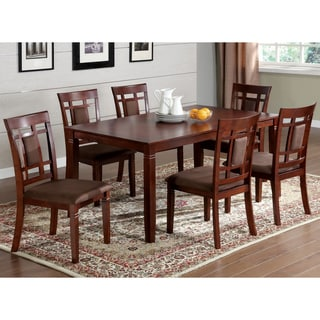 Furniture of America Mulani Modern Cherry Solid Wood 7-piece Dining Set
