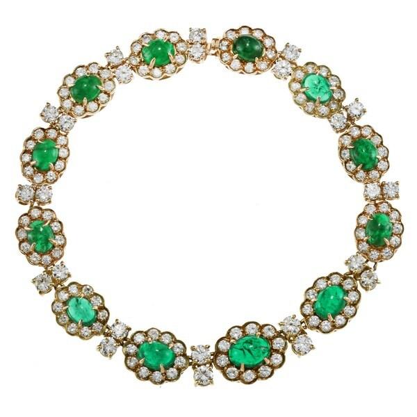 18k Gold Emerald and 7ct TDW Diamond Art Deco Estate Bracelet (G-H, SI1-SI2)