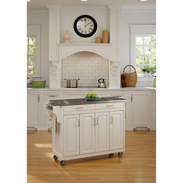 Home Styles Create-a-Cart White Finish Stainless Steel Top