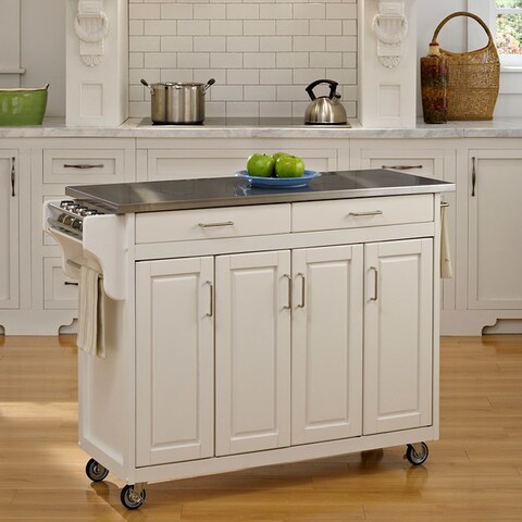Gracewood Hollow Defoe White Finish with Stainless Steel Top Kitchen Cart