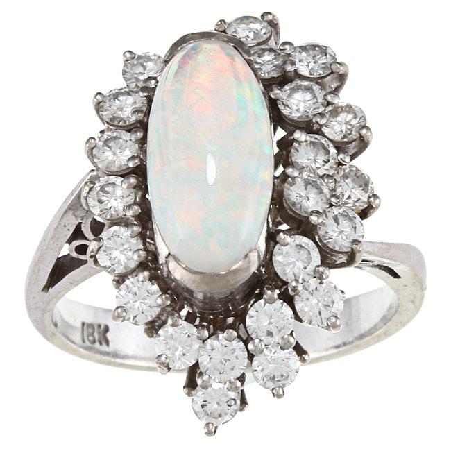 18k White Gold Opal and 1 1/4ct TDW Diamond Estate Ring (I-J, SI1-SI2)