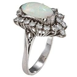 18k White Gold Opal and 1 1/4ct TDW Diamond Estate Ring (I-J, SI1-SI2) - Thumbnail 1