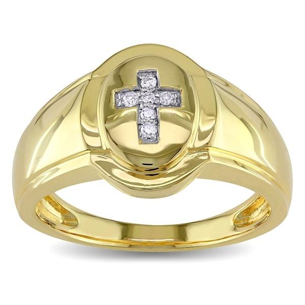 Miadora 18k Yellow Goldplated Silver Men's Diamond Cross Ring