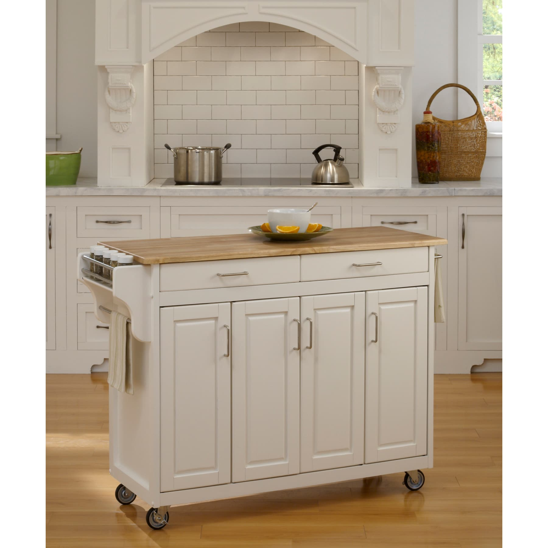 Shop Simple Living Rolling Galvin Microwave Cart: Shop Havenside Home Driftwood White Wood Top Kitchen