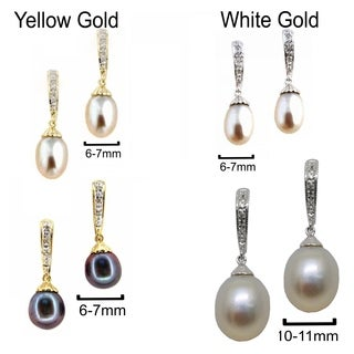 Kabella 14k Gold Vintage Bridal Cultured FW Pearl Diamond Earrings