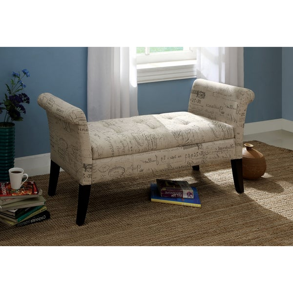 Furniture of America Frenchy Storage Bench with Script Fabric
