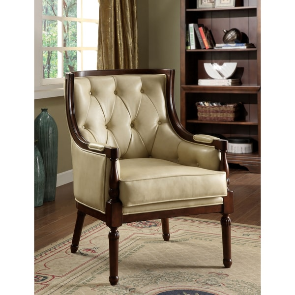 Furniture of America Classic Tufted Leatherette Accent Chair