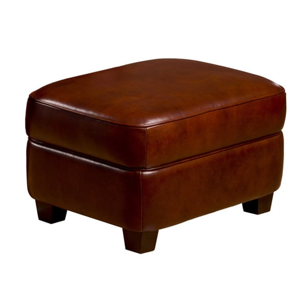 Max Leather Storage Ottoman in Cognac