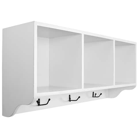 "Safavieh Bolton White 3-hook 3-shelf Wall Shelf - 33.5"" x 9.1"" x 15"""