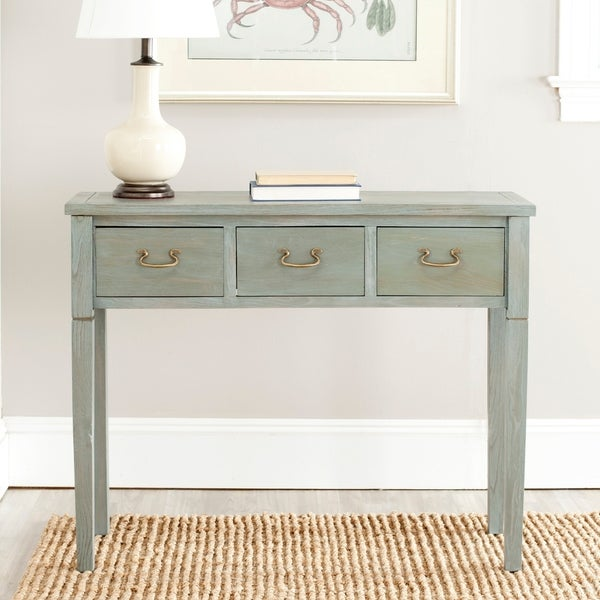 """Safavieh Cindy Antiqued Grey Console Table - 39.4"""" x 14.2"""" x 31.7"""". Opens flyout."""