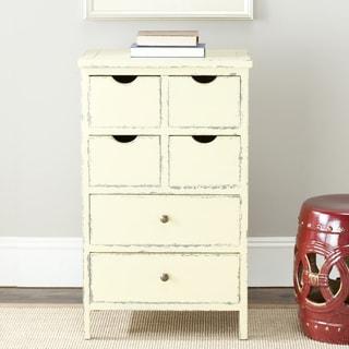 Safavieh Sete Antiqued Cream Storage 6-drawer Lilly Side Chest