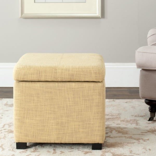 Safavieh Broadway Light Gold Viscose Storage Ottoman