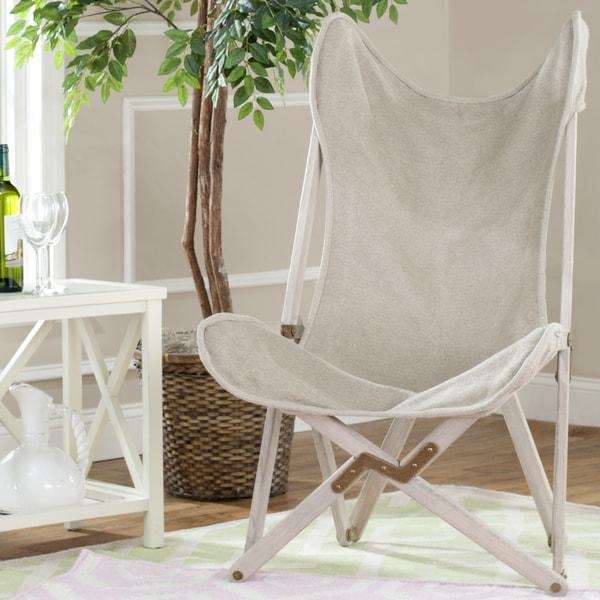 Safavieh Butterfly Beige Linen Folding Chair Free
