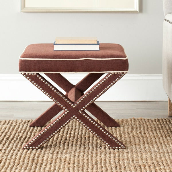 Safavieh X-Bench Nailhead Brown/ White Ottoman