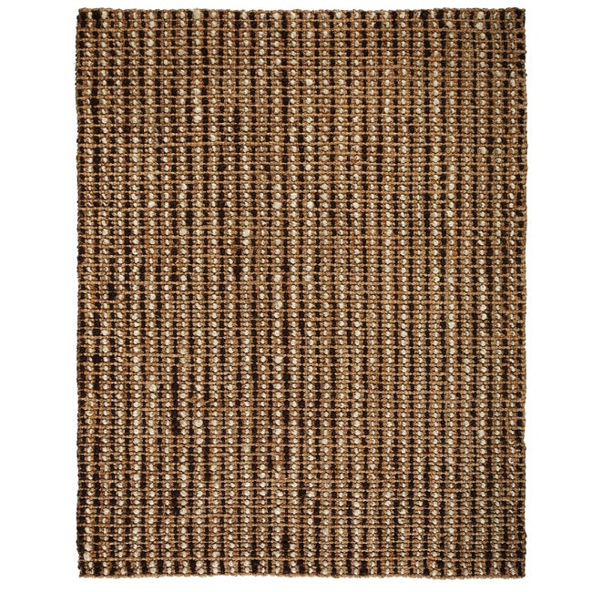 Hand-woven Sutra Brown/ Ivory Ribbed Jute Rug (5' x 8')