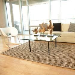 Hand-woven Sutra Brown/ Ivory Ribbed Jute Rug (5' x 8') - Thumbnail 1