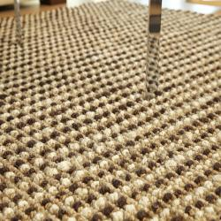 Hand-woven Sutra Brown/ Ivory Ribbed Jute Rug (5' x 8') - Thumbnail 2