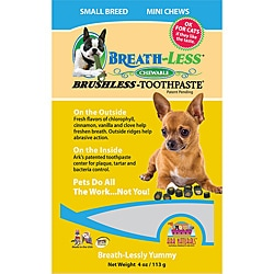 Breath-less Chewable Brushless Toothpaste for Small Breed Dogs (4 ounces)