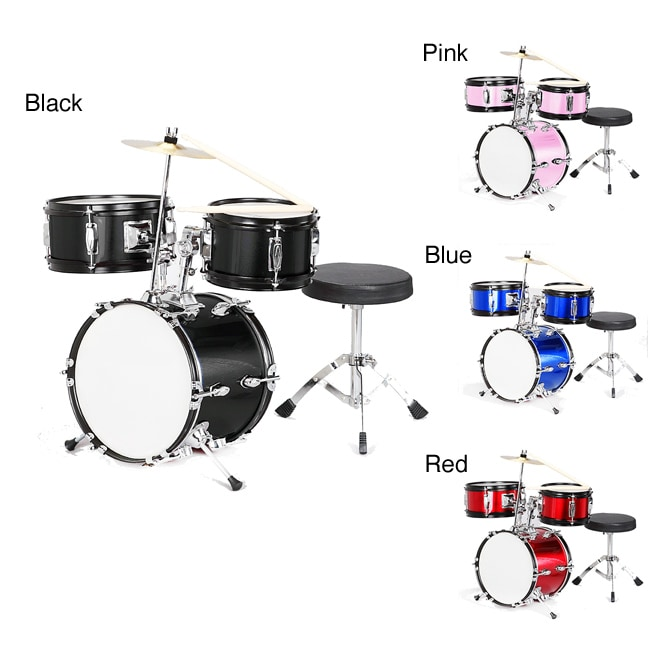 Childrens 3-piece Complete Drum Set