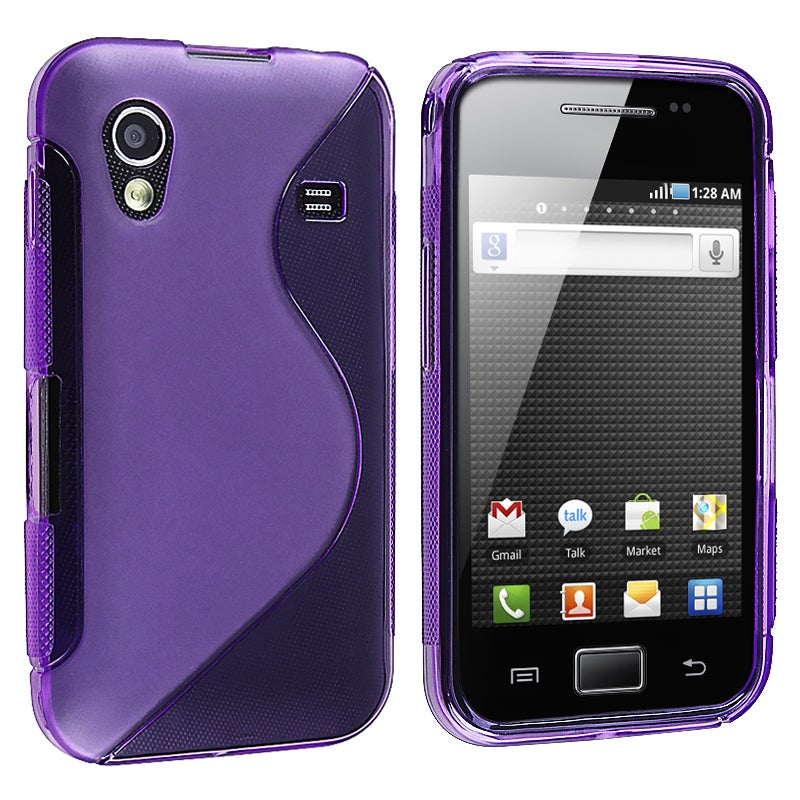 Frost Purple S Shape TPU Rubber Skin Case for Samsung Galaxy Ace S5830