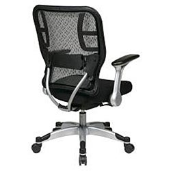 Office Star Deluxe R2 SpaceGrid Back Chair with Mesh Seat and Flip Arms