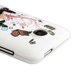 INSTEN White/ Buttefly Flower Snap-on Rubber Coated Phone Case Cover for HTC Desire HD - Thumbnail 2
