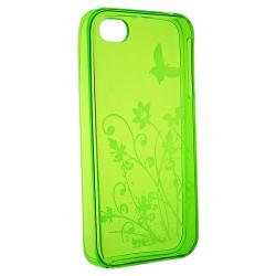 Clear Green Flower With Butterfly TPU Skin Case for Apple iPhone 4/4S