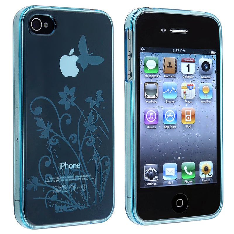 Clear Light Blue Flower With Butterfly TPU Case for Apple iPhone 4/4S