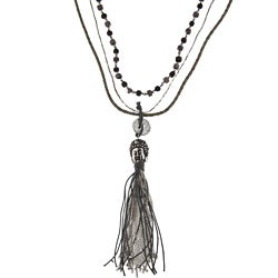 Stainless Steel Buddha Head Tassel Multi-strand Necklace