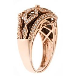 Anika and August 14k Rose Gold Inlaid Onyx and 2/5ct TDW Diamond Ring (G-H, I1-I2) - Thumbnail 1