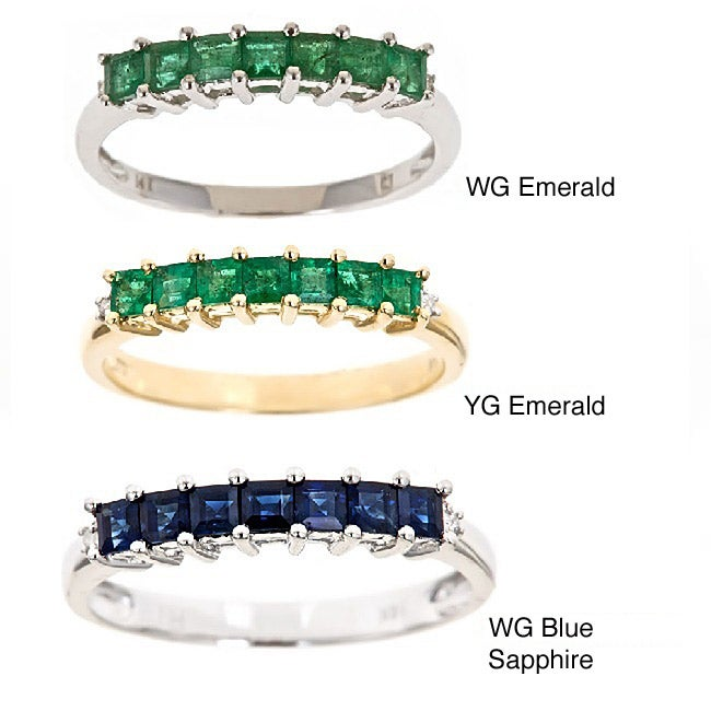 D'Yach 14k White Gold Zambian Emerald and Diamond Accent Ring