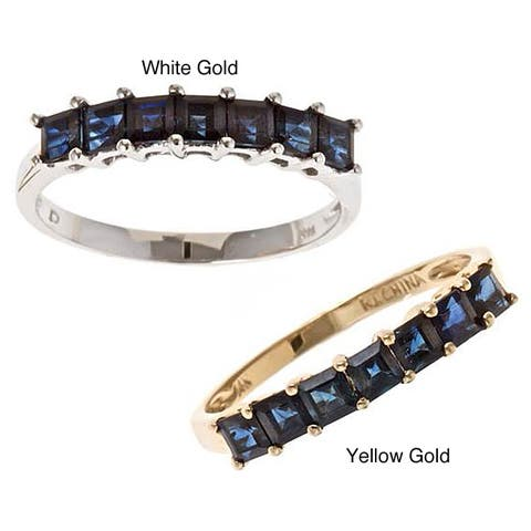 Anika and August 14k Gold Princess-cut Blue Sapphire Ring