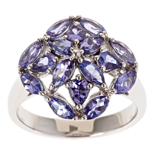 D'Yach Sterling Silver Marquise and Pear Tanzanite Cluster Ring