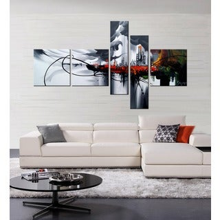 Hand-painted 'Angel City' 5-piece Gallery-wrapped Canvas Art Set
