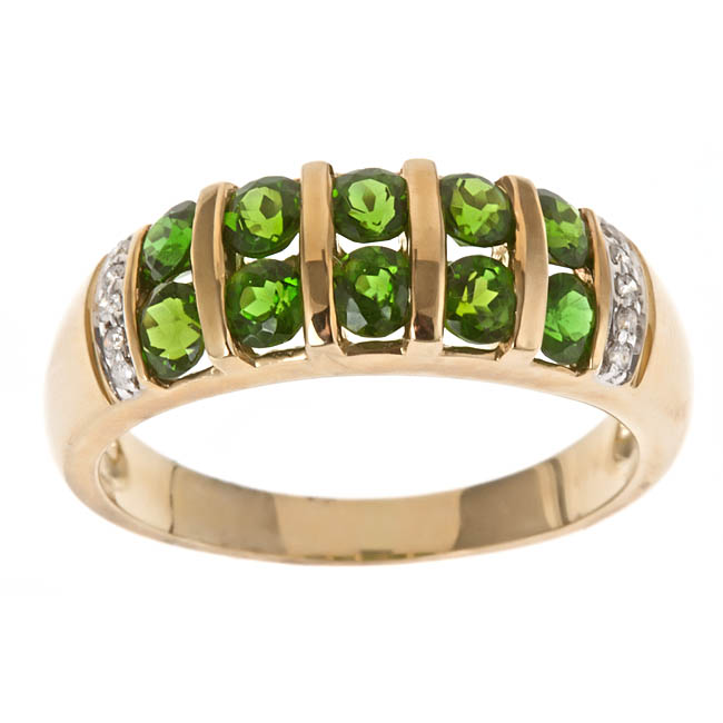 D'Yach 10k Yellow Gold Chrome Diopside and Diamond Accent Ring