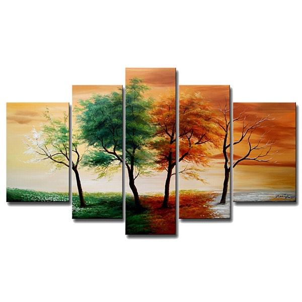 handpainted u0027four 5piece canvas art set