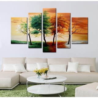Hand-painted 'Four Seasons' 5-piece Gallery-wrapped Canvas Art Set