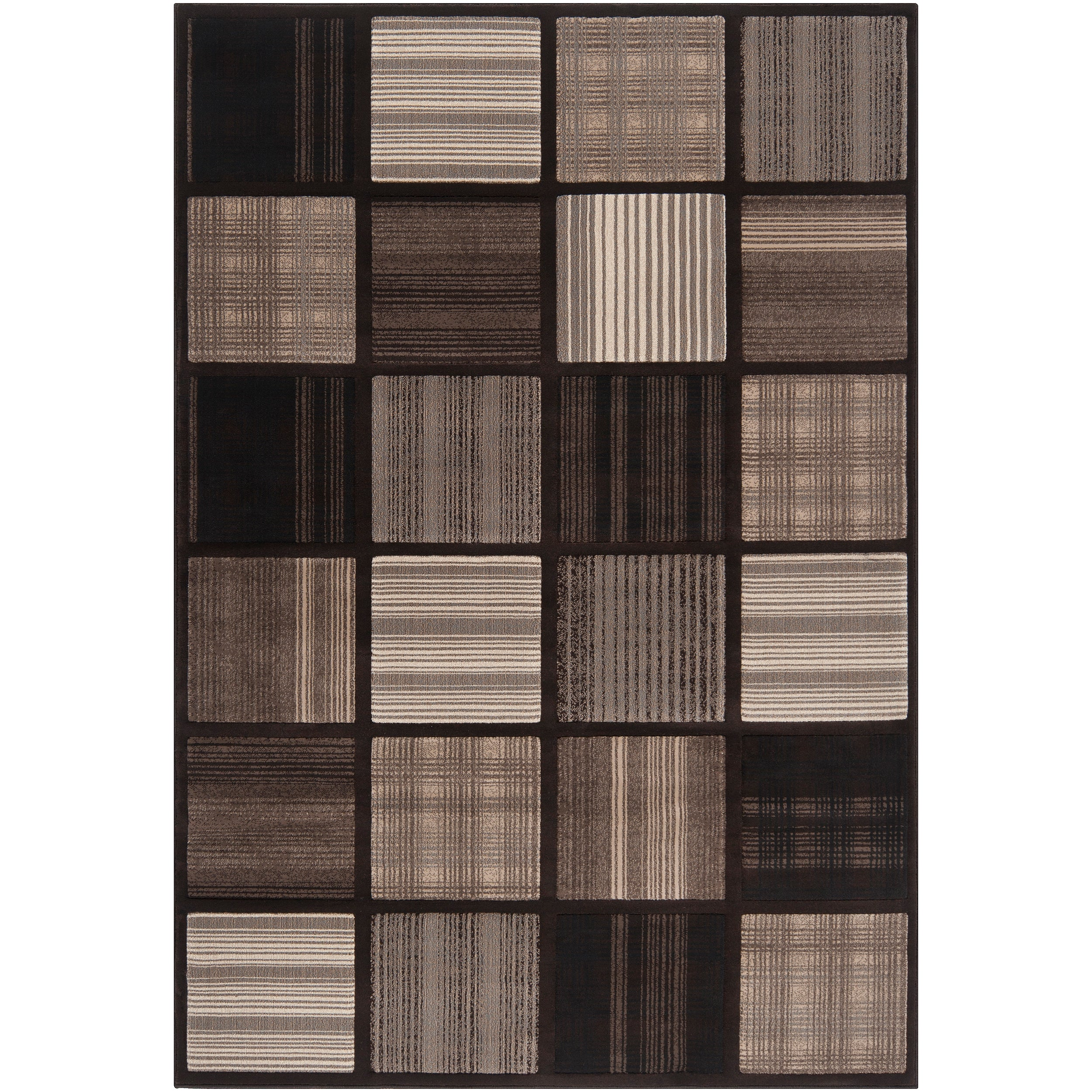 Meticulously Woven Contemporary Grey Accessory Geometric Squares Rug (7'10 x 11'2)