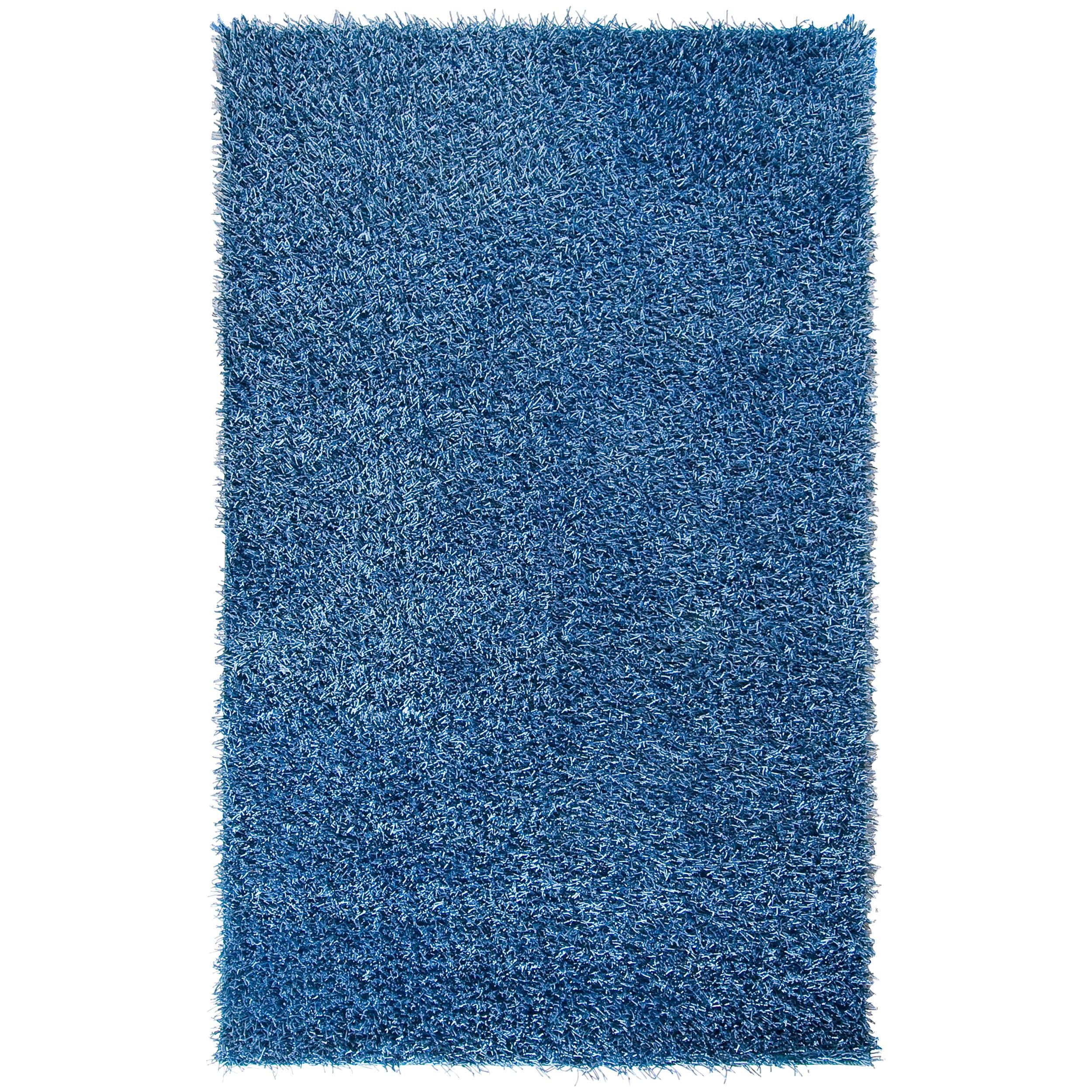 Hand-woven Blue Vivid Soft Shag (1'9 x 2'10)